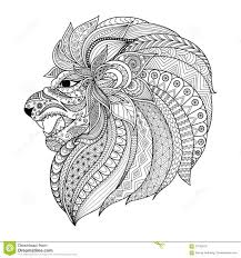 detailed zentangle stylized lion for t shirt graphic coloring