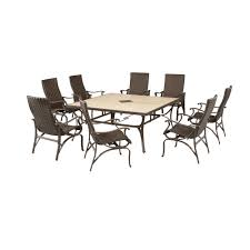 Hampton Bay Patio Furniture Hampton Bay Pembrey 9 Piece Patio Dining Set Hd14216 The Home Depot