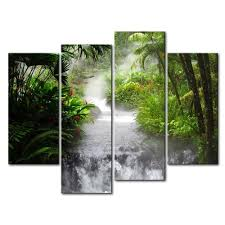 amazon com 4 panel wall art painting waterfall in the jungle
