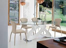 dining room stunning modern glass top dining table with mirrored