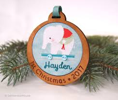 baby first christmas ornament personalized hand embroidered