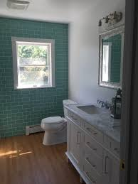 sage green glass subway tile bathroom feature wall subway tile
