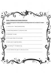 english teaching worksheets complex sentences