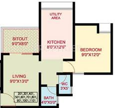 550 sq ft 1 bhk floor plan image nanded city development and