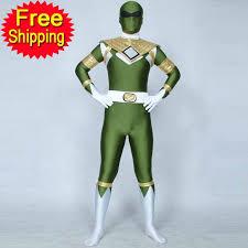 100 green power ranger halloween costume free shipping kid