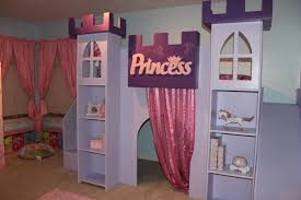 Princess Book Shelf Furniture Purple Stained Wood Bed With Slide And Stairs Also Book
