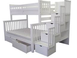 full over full bunk beds with stairs white home design ideas