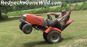 checkout these fun backyard redneck lawn mower wheelies