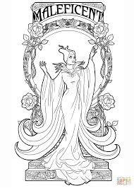 art nouveau maleficent coloring page free printable coloring pages