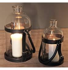 Threshold Candle Holder by Sven Rustic Lodge Glass Leather Lantern Candle Holder 16 Inch