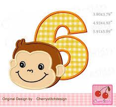 Monkey Sconces Birthday Number 6 With Monkey Boy My 6th Birthday Monkey Applique