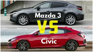 2017 mazda 3 sedan vs honda civic hatchback youtube