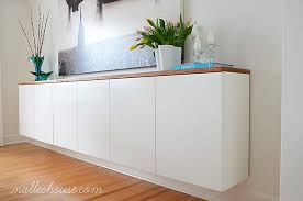 Ikea Dining Room Cabinets Diy Floating Sideboard 3 Ikea Akurum Kitchen Cabinets Mounted On