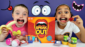 kids react to speak out game mouthguard challenge surprise eggs