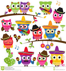 cinco de mayo themed collection of owls royalty free stock photo