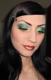 Halloween Glamour Makeup Glitter Is My Gold Lime Green Teal And Blue Makeup