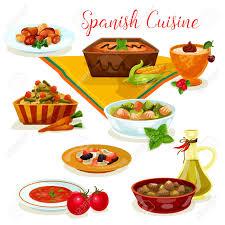 espagne cuisine cuisine espagnole savoureux menu de diner icône de dessin animé clip