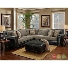 avanti traditional charcoal black sectional sofa w nailhead