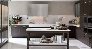 l shaped small kitchen design with dark brown cabinet and using