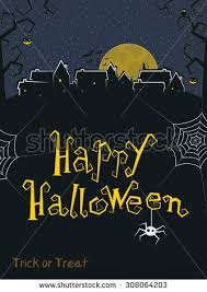 happy halloween greeting card crooked text stock vector 307954142