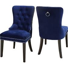 nailhead trim dining chairs meridian furniture nikki dining chair in tufted navy blue velvet w