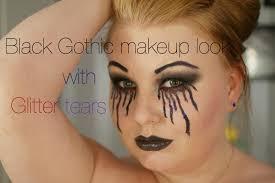 black makeup look with glitter tears epic fail halloween