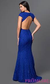 cap sleeve open back lace prom dress promgirl