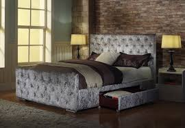 Crushed Velvet Bed Brand New Crushed Velvet Fabric Bed Frame Zoe Silver 4ft6 Double