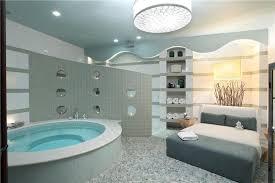 modern master bathroom with rain shower head u0026 custom shower in