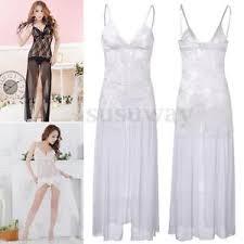 women lingerie long lace transparent dress g string sleepwear