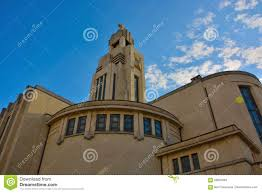 art deco architecture in brussels modern church editorial stock