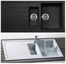 Bluci PIAZZA  Bowl Granite Kitchen Sink In Black Granite - Black granite kitchen sinks