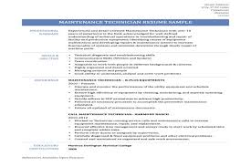 Maintenance Mechanic Resume Examples by Maintenance Tech Resume Facilities Maintenance Technician Resume