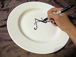 monogrammed plate monogram a plate in five minutes with a permanent marker