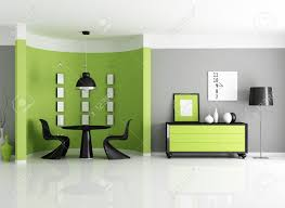 modern green dining room with circular wall rendering stock