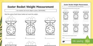 easter basket weight measuring activity sheet australia easter