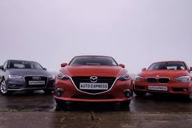 audi a3 vs bmw 3 series mazda 3 vs audi a3 bmw 1 series test auto express