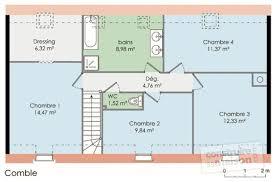 plan etage 4 chambres maison 1 etage 4 chambres