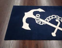 Nautical Bathroom Rugs 5 X 8 Nautical Anchor Area Rug In Navy Tufted