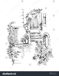 hand made vector sketch old town stock vector 289540058 shutterstock