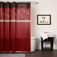 red bathroom designs curve white finish stained wooden cabinet