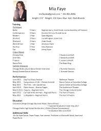 Dancer Resume Template Dance Resume Template Sample Dance Resume For Audition Audition
