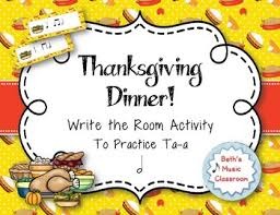 thanksgiving dinner rhythm scavenger hunt write the room ta a