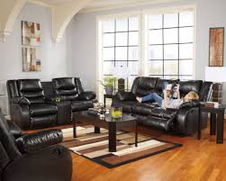 Black Leather Living Room Sets Linebacker Durablend Black Reclining Living Room Set From Ashley