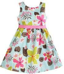 girls blue floral print easter dress