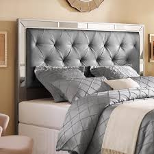 silver queen full size upholstered tufted mirrored headboard