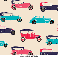 different reds pattern of vintage cars in different tones of reds and blues