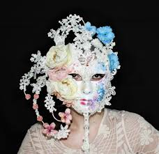 flower headpiece geisha headpiece mask swarovski crystals wedding accessories