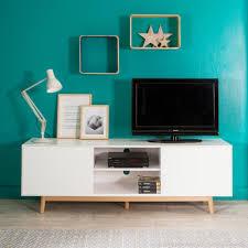 Meuble TV 2 portes 2 niches en bois laqué blanc pieds chªne L180cm