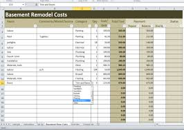 basement remodel costs calculator excel template renovation cost